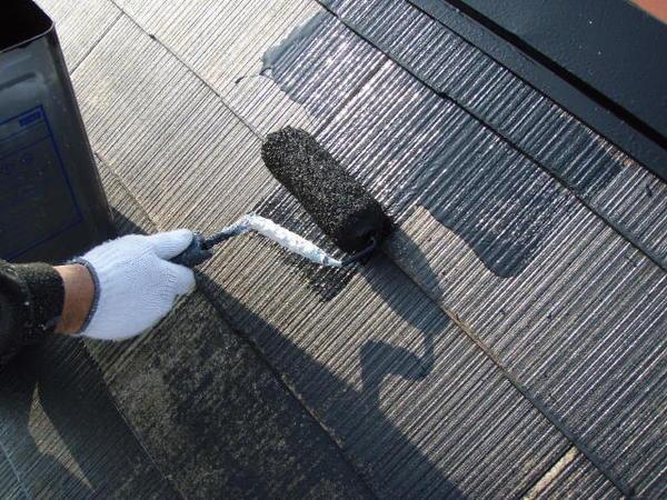 安城市 M様邸 外壁塗装 屋根塗装 無機コース屋根中塗り