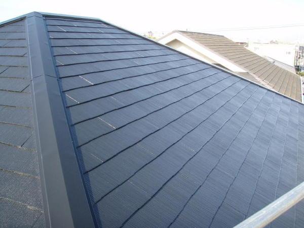 安城市 M様邸 外壁塗装 屋根塗装 無機コースヤネ上塗り完了2
