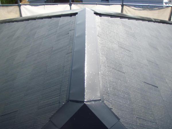 安城市 M様邸 外壁塗装 屋根塗装 無機コースヤネ上塗り完了