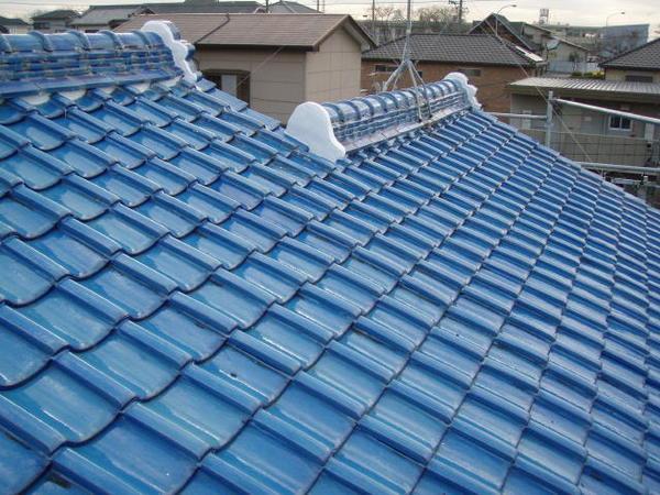三好市 Y様邸 戸建 外壁塗装 屋根瓦止め漆喰 無機塗装コース屋根瓦止め施工施工完了2